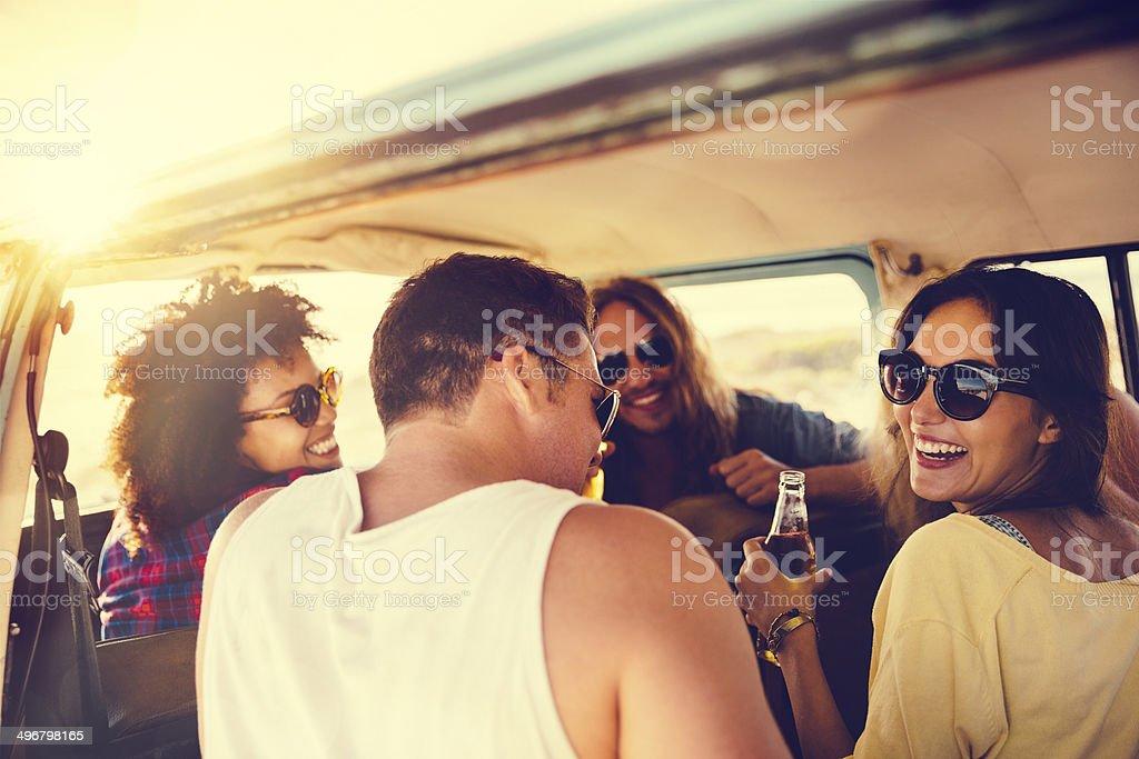 Friends in camper van stock photo
