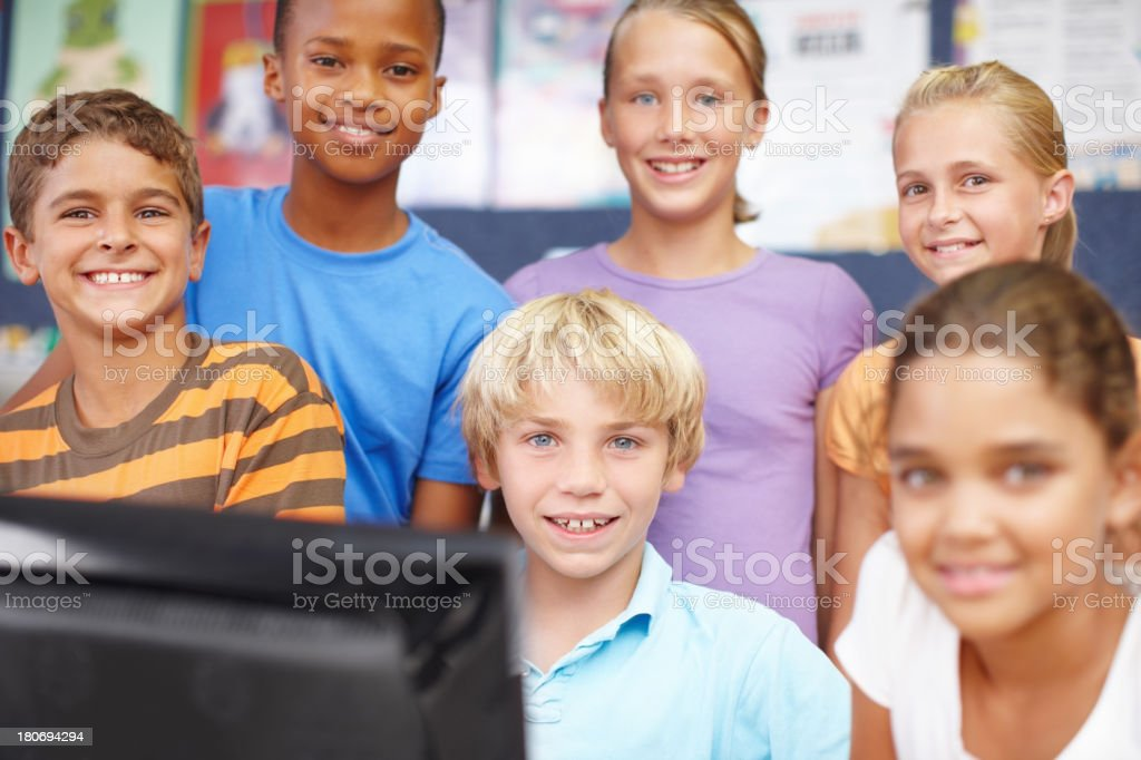 Friends in computer class royalty-free stock photo
