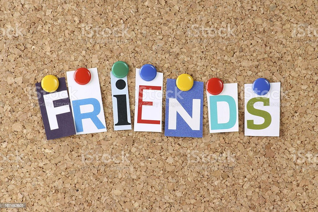 Friends in Cut Out Magazine Letters royalty-free stock photo