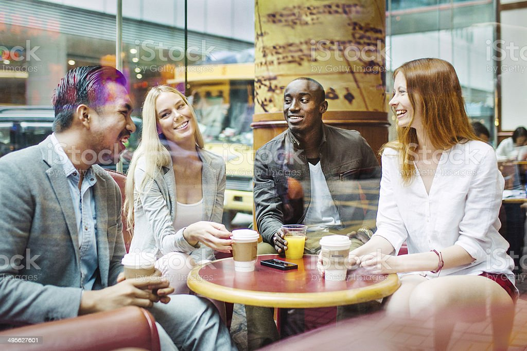 Friends in Hong Kong cafe royalty-free stock photo
