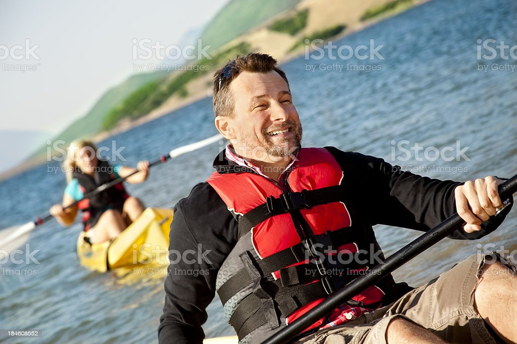 Friends in Kayaks royalty-free stock photo