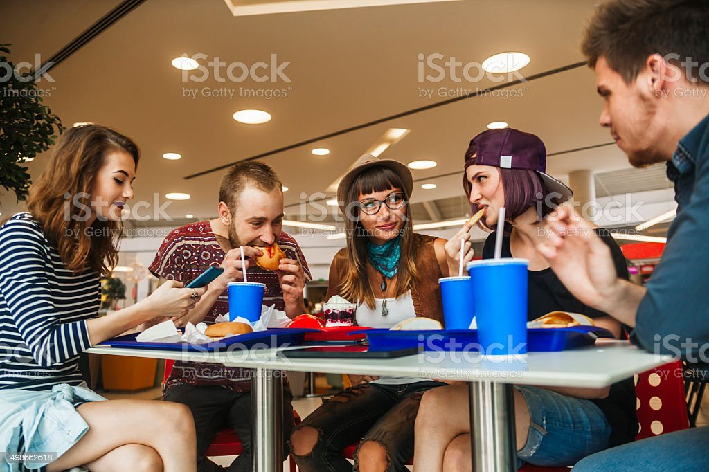 Friends In Mall stock photo