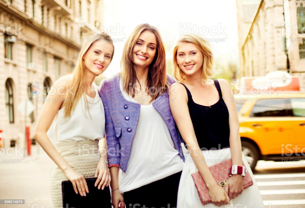 Friends in New York stock photo