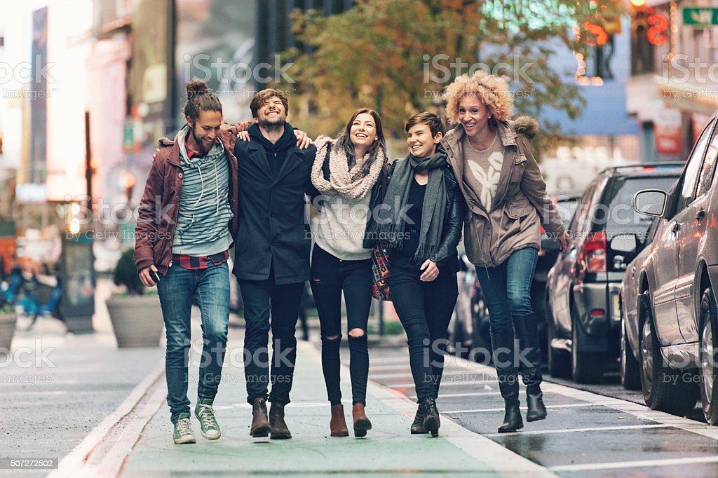 Friends in NY City stock photo