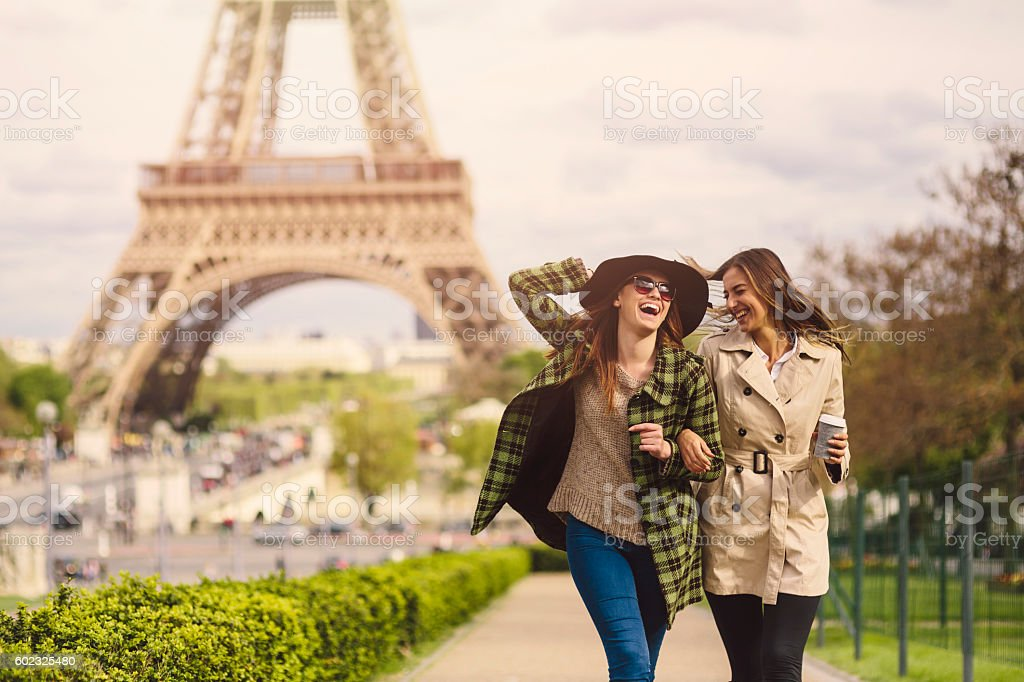 Friends in Paris stock photo