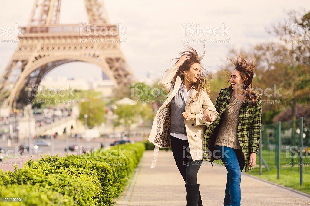 Friends in Paris stock photo