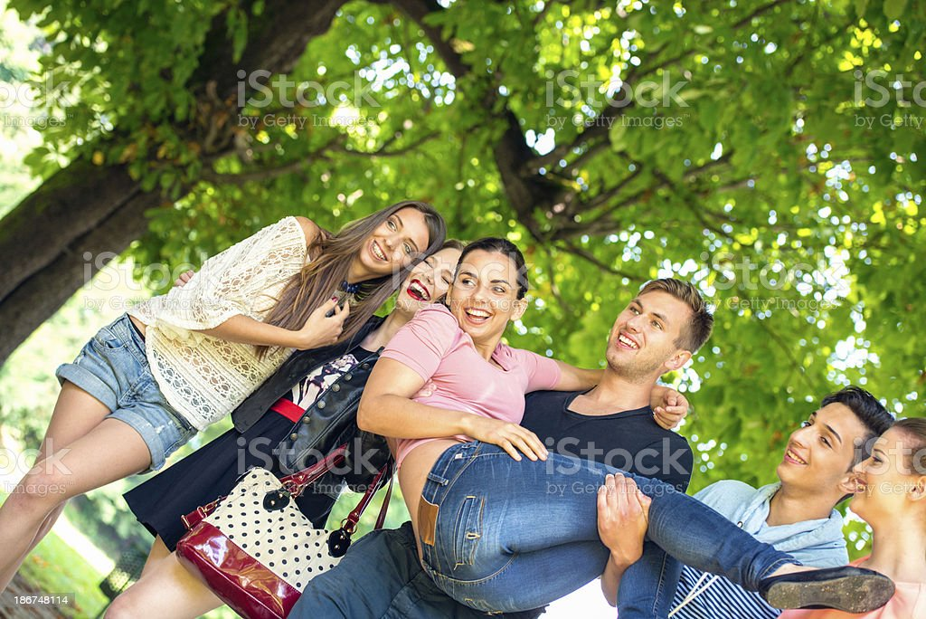 Friends in park royalty-free stock photo