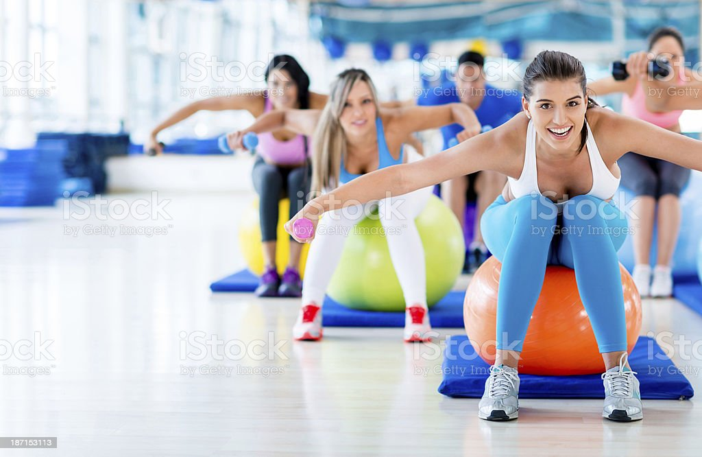 Friends in Pilates class royalty-free stock photo