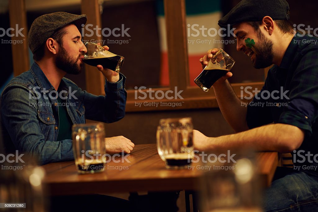 Friends in pub stock photo