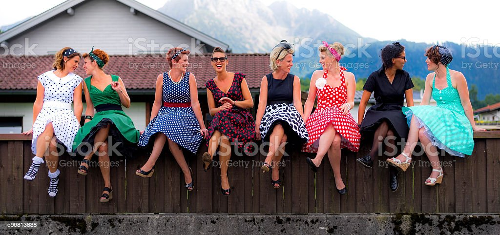Friends in the 50s stock photo