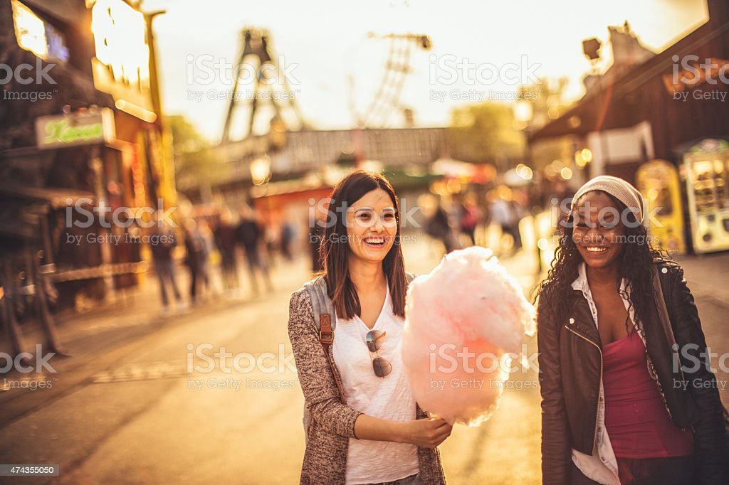 Friends in the amusement park stock photo