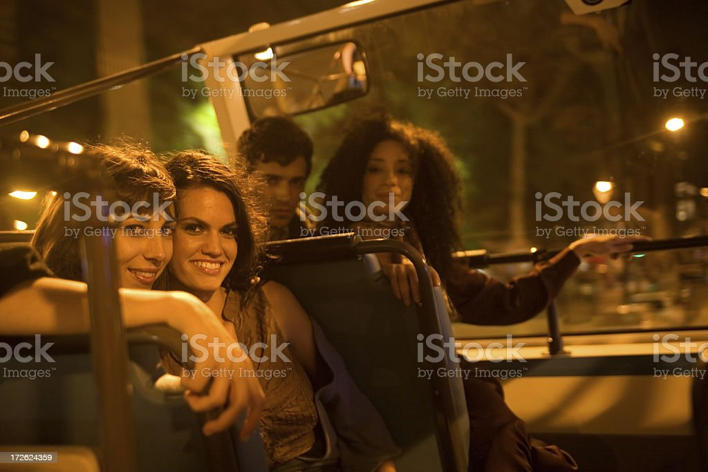 friends in the bus stock photo