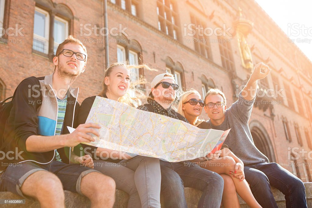 Friends in the city center. stock photo