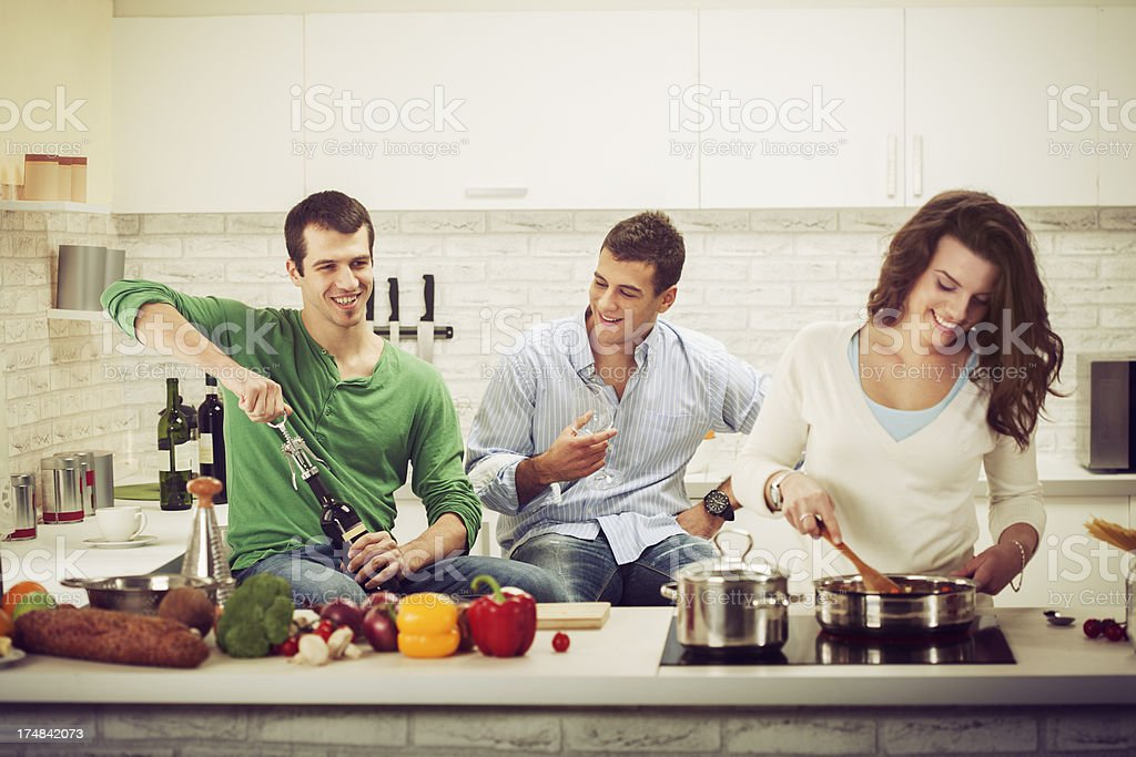 Friends In The Kitchen stock photo