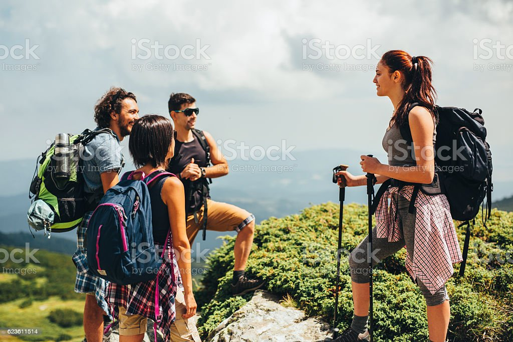 Friends in the mountain stock photo