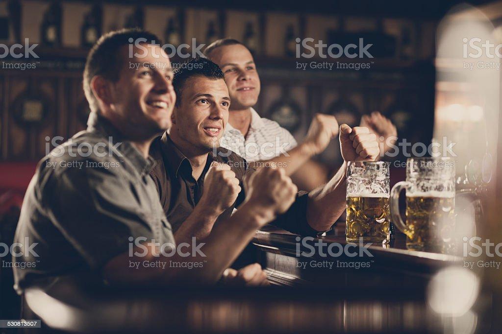 Friends in the Pub celebrating stock photo