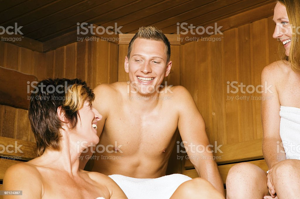Friends in the sauna royalty-free stock photo