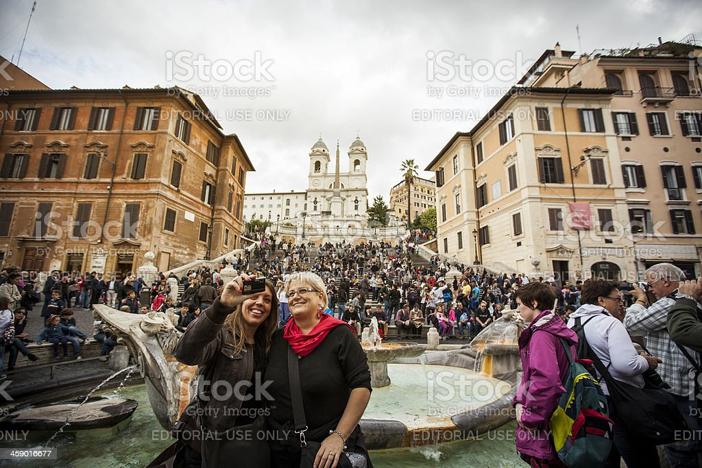 Friends in Piazza di Spagna self portrait royalty-free stock photo