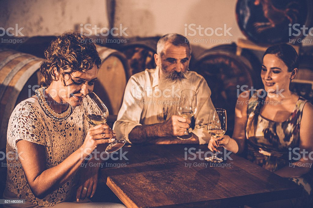 Friends in Wine Cellar stock photo