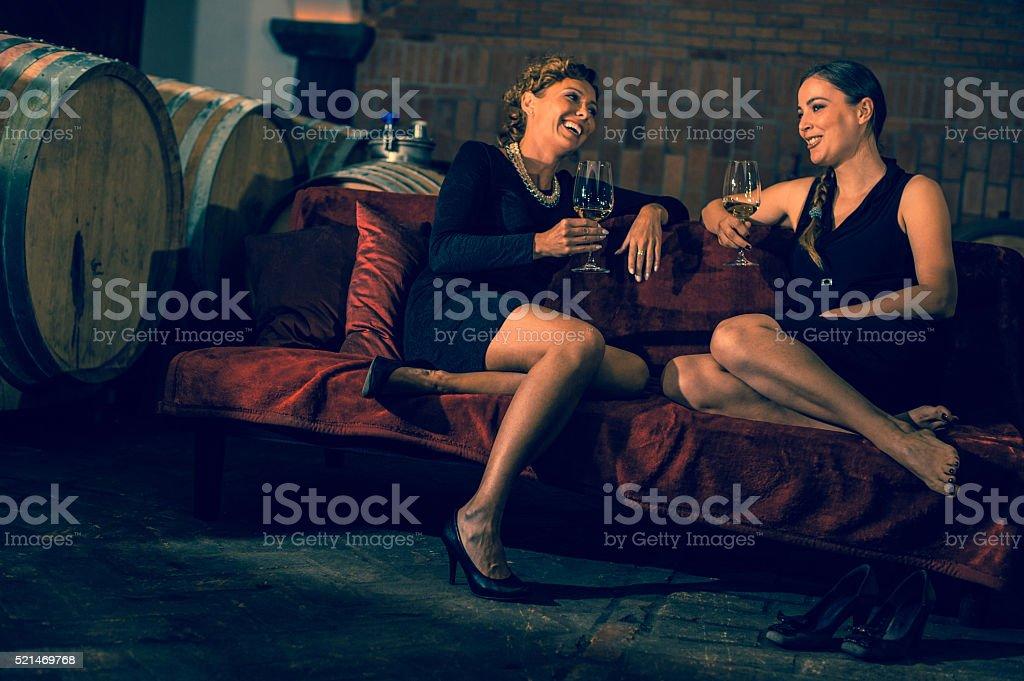 Friends in Wine Cellar stock photo
