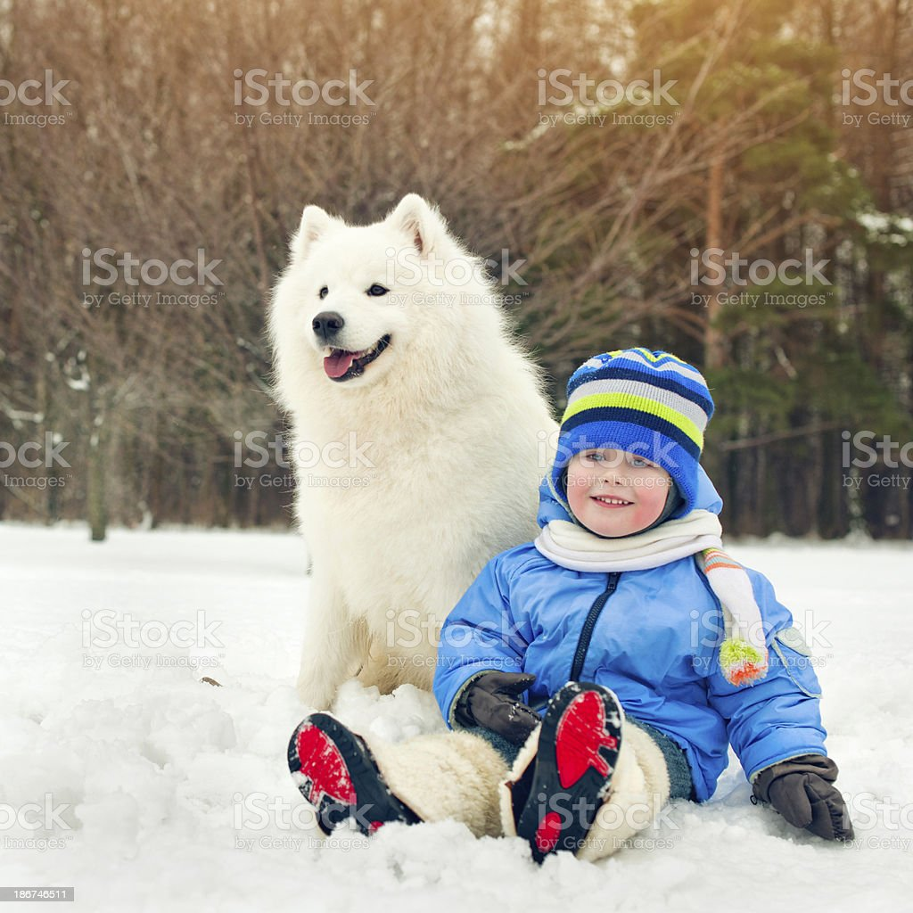 Friends in winter park royalty-free stock photo