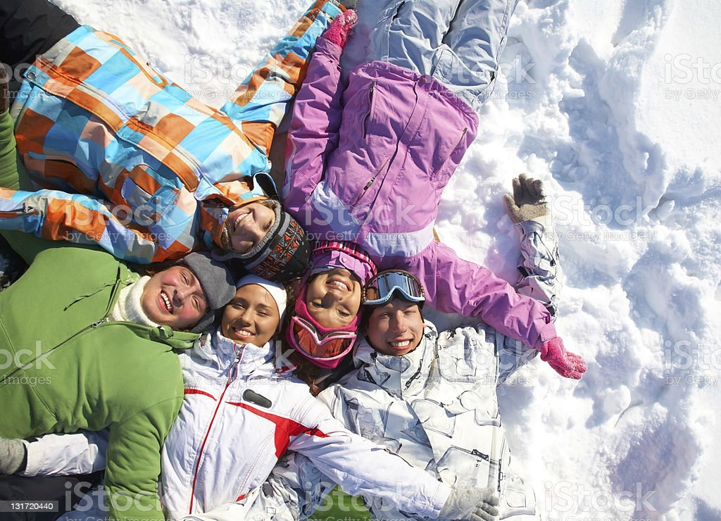 friends in winter royalty-free stock photo