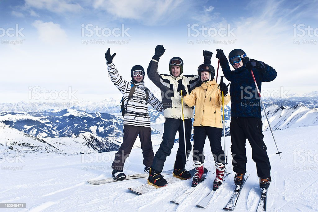 Friends in winter vacation stock photo