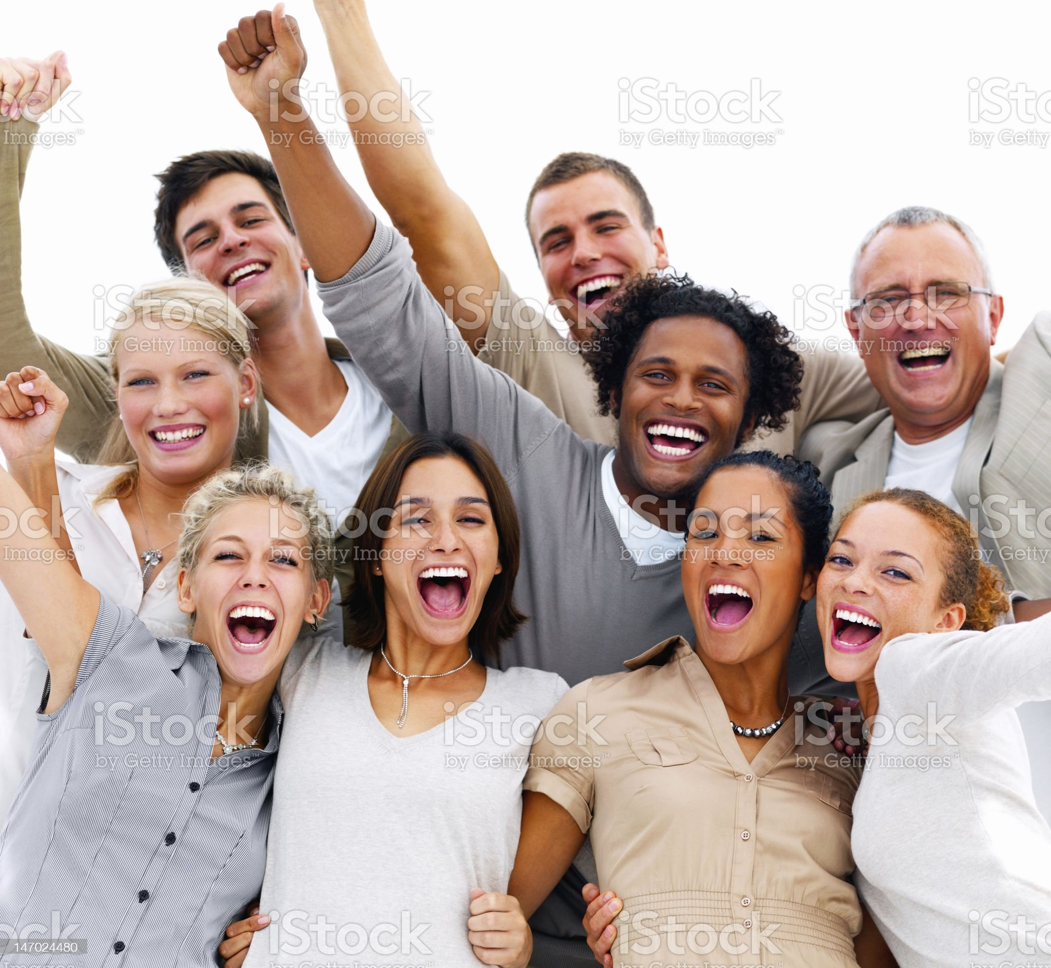 Friends laughing on white background royalty-free stock photo