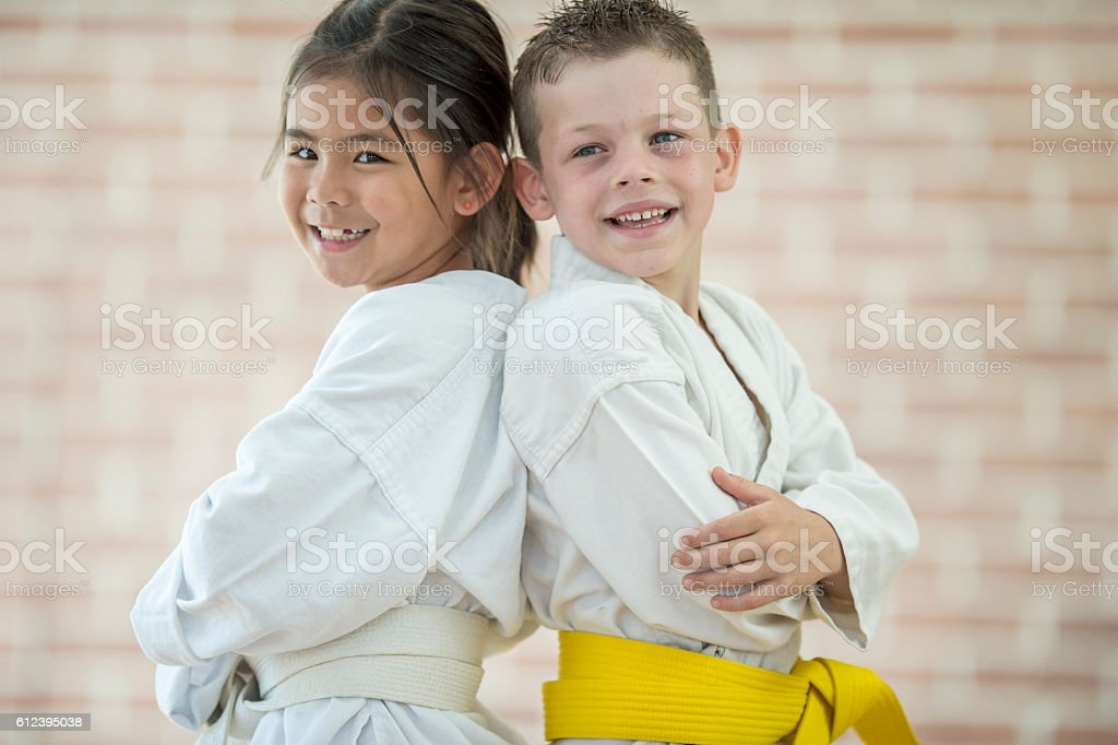 Friends Learning Martial Arts stock photo