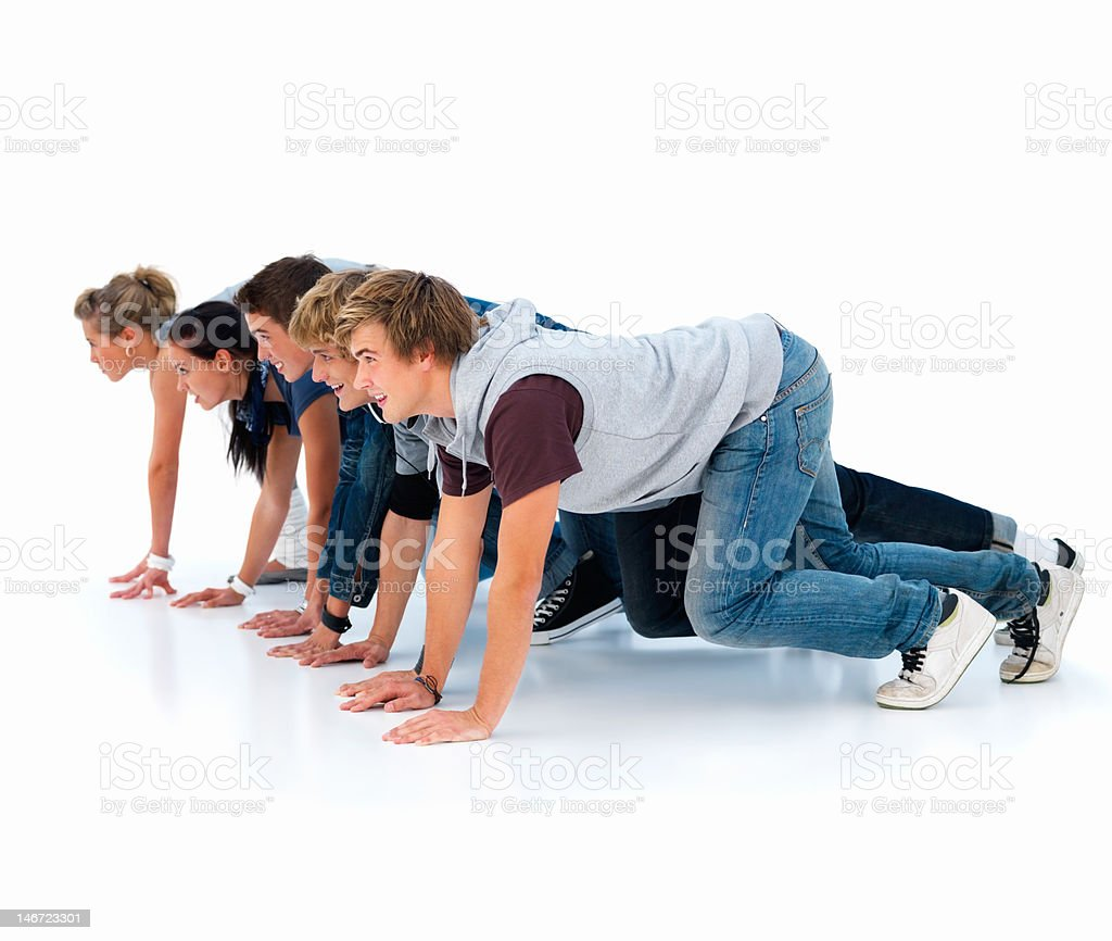 Friends lined up ready for race royalty-free stock photo
