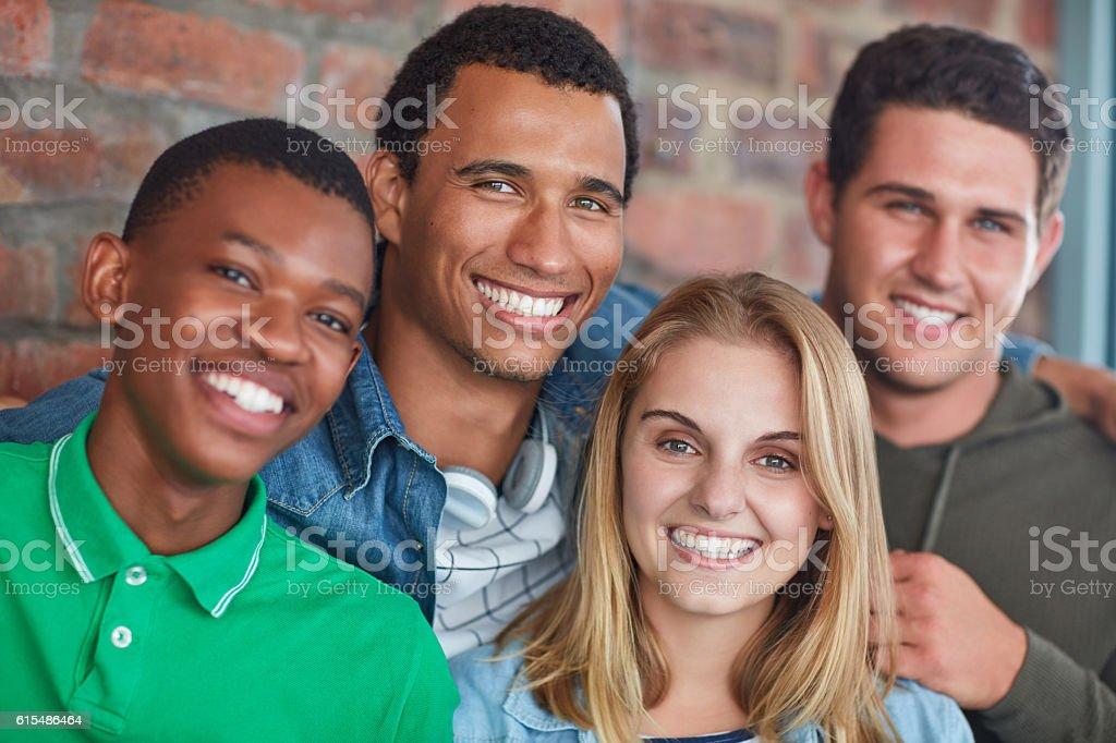 Friends make college fun stock photo