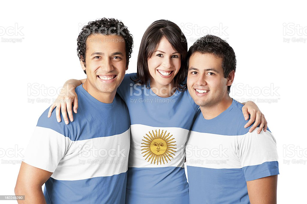 Friends making a Argentina's flag stock photo