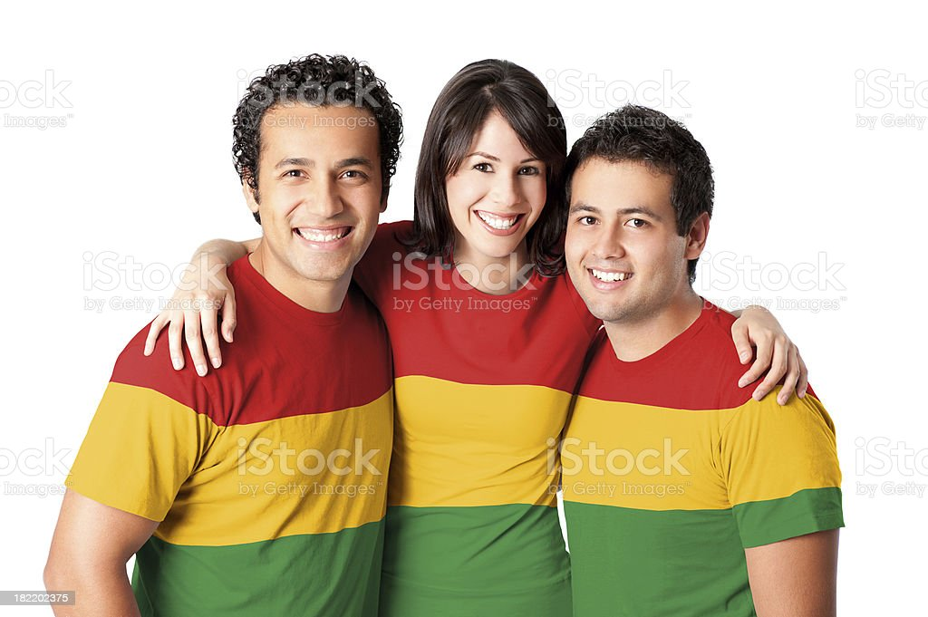 Friends making a Bolivian flag stock photo