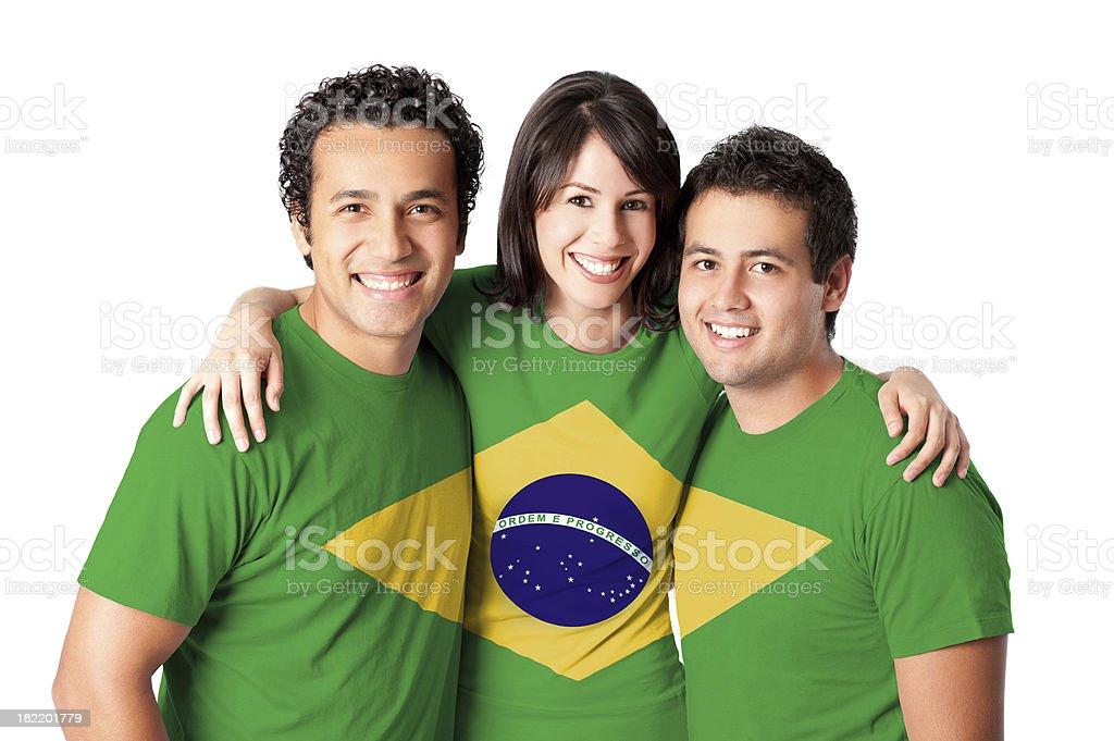 Friends making a Brazilian flag stock photo
