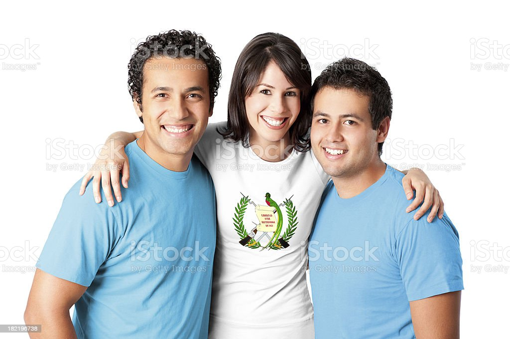 Friends making a Guatemala flag royalty-free stock photo