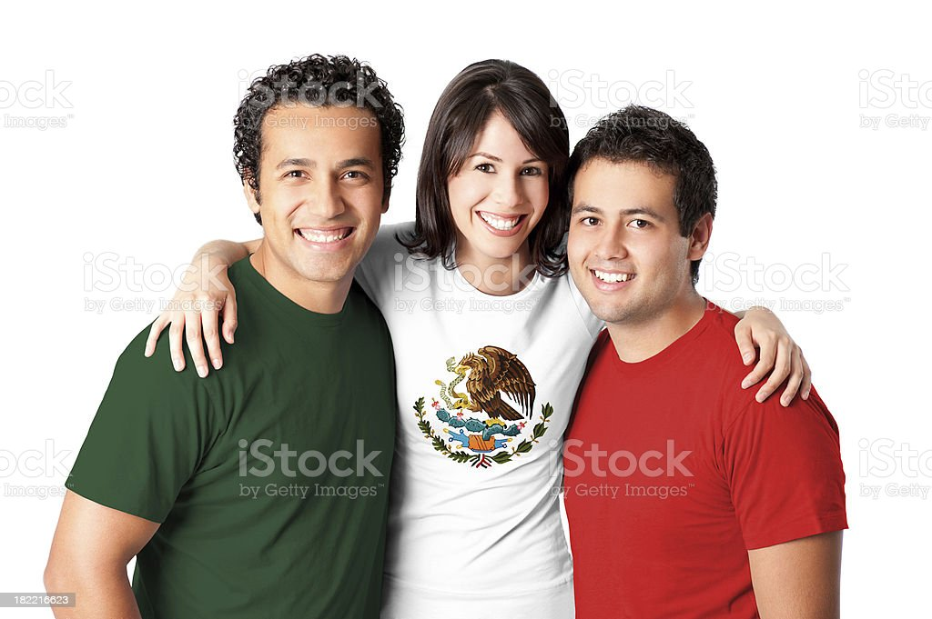Friends making a Mexican flag stock photo