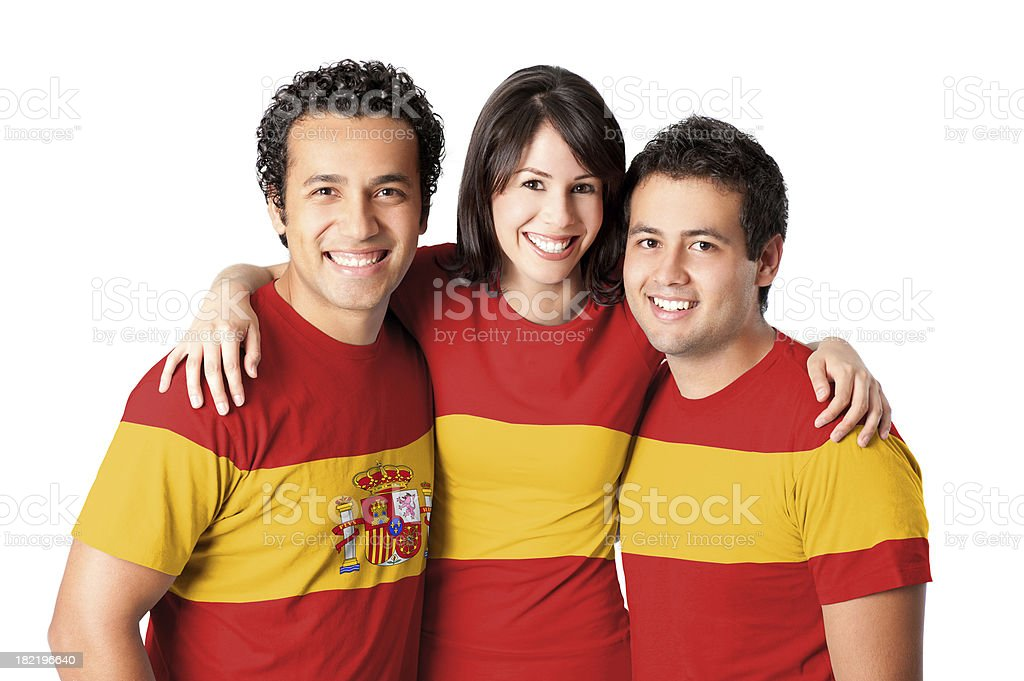 Friends making a Spanish flag stock photo