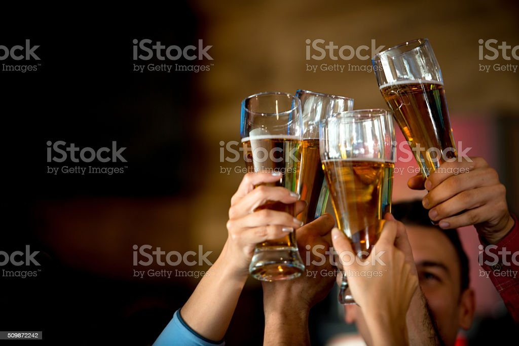 Friends making a toast at the bar stock photo