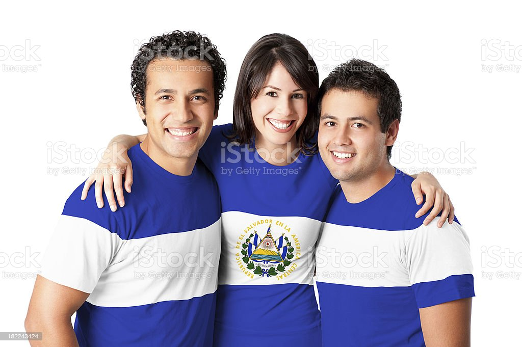 Friends making El Salvador flag stock photo
