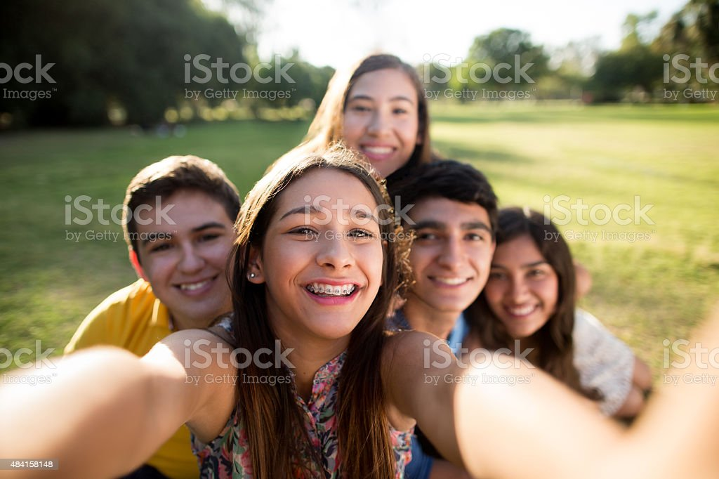 Friends making selfie stock photo