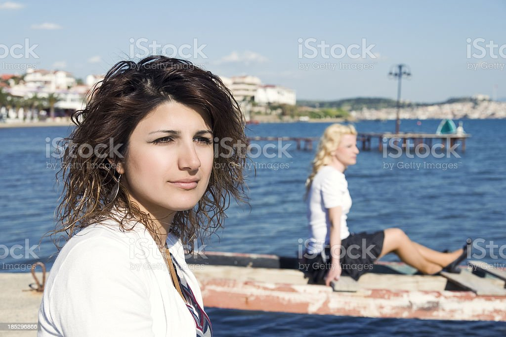 Friends Next To The Sea royalty-free stock photo