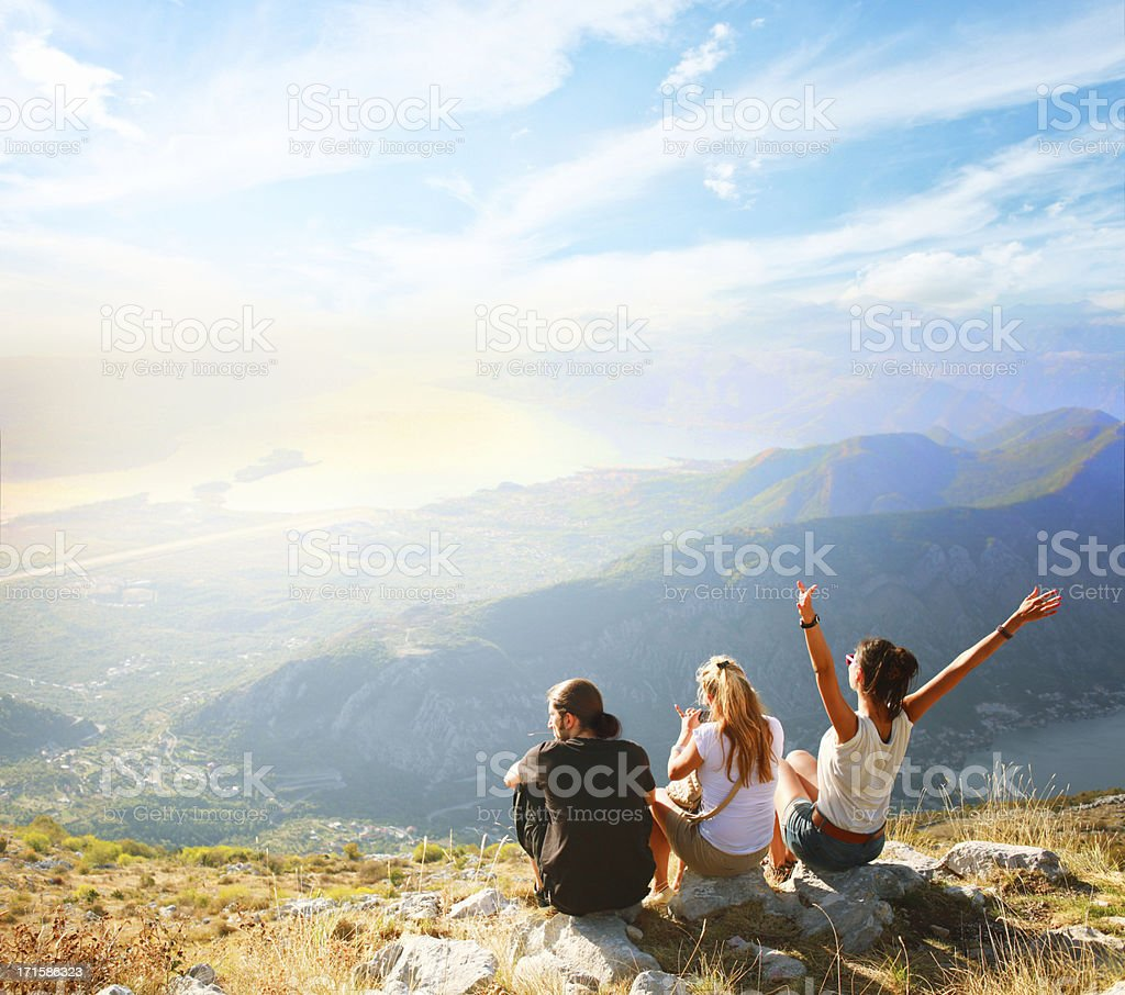 Friends on a nature trip stock photo