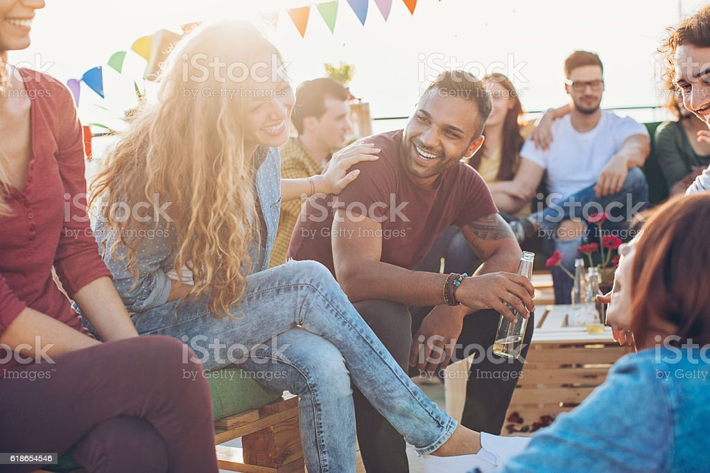 Friends on a party stock photo