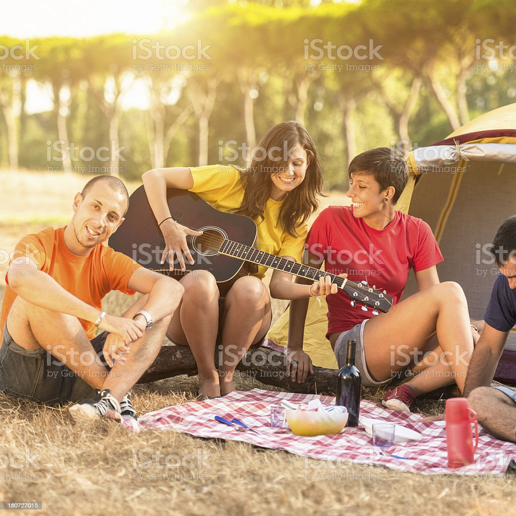 Friends on a picnic Camping day royalty-free stock photo