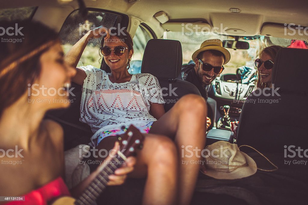 Friends on a road trip stock photo