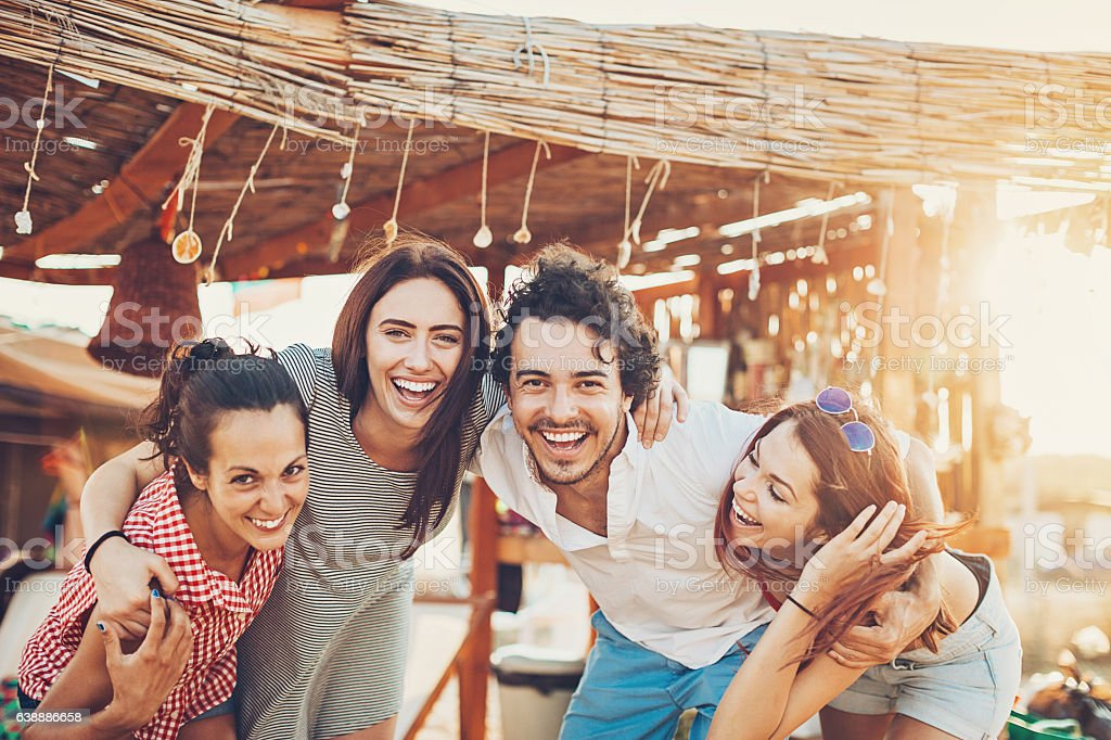 Friends on a summer camp stock photo