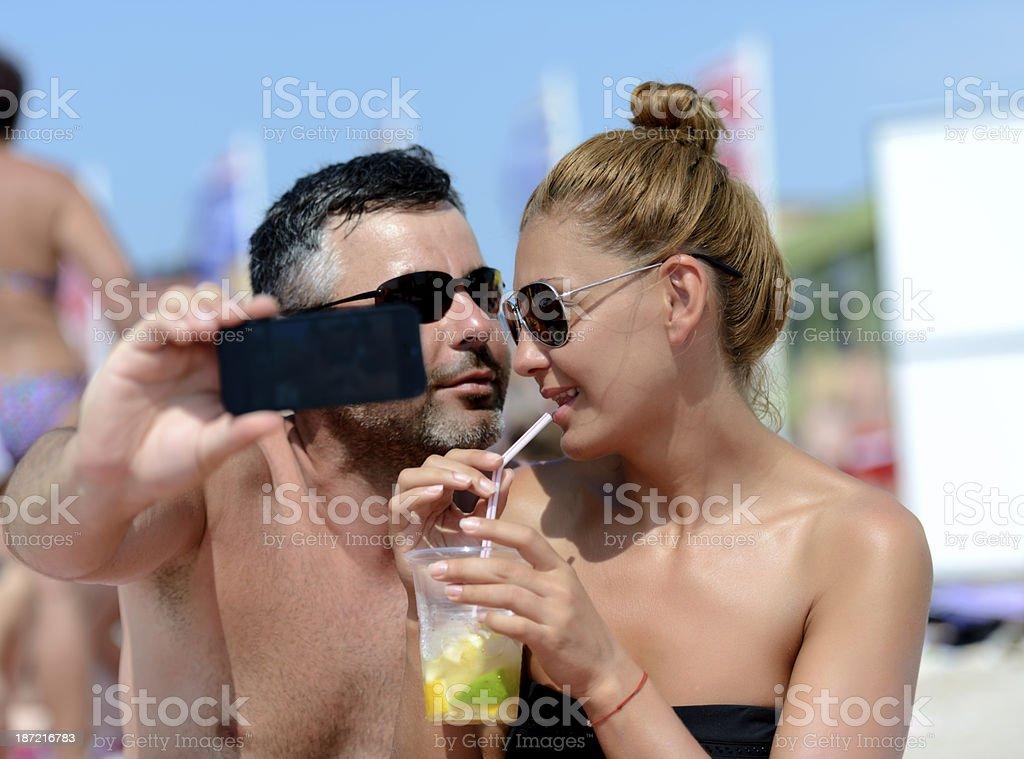 friends on beach royalty-free stock photo