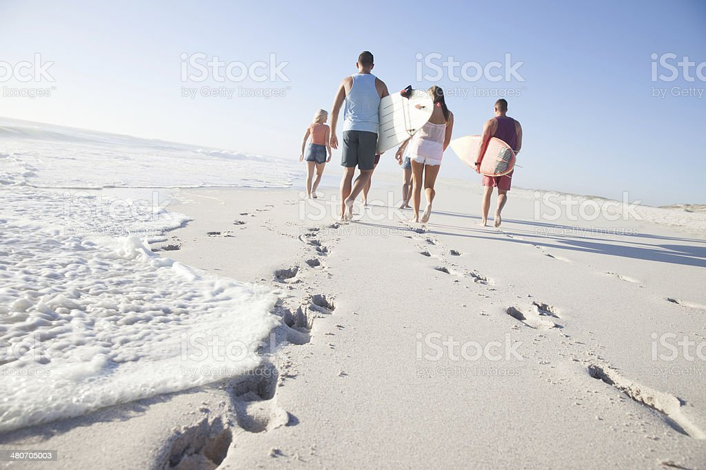 Friends on beach royalty-free stock photo
