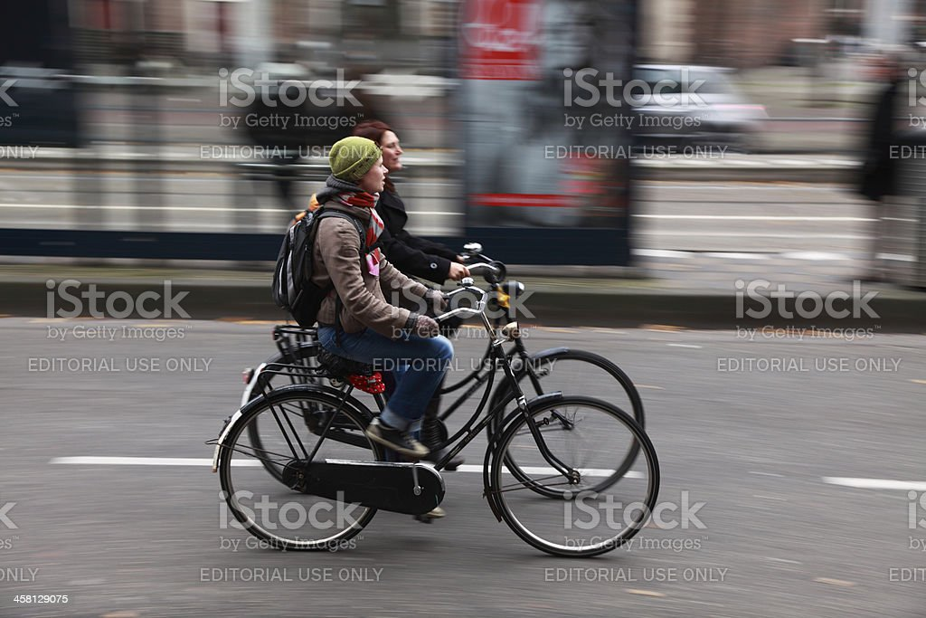 Friends on bicycles royalty-free stock photo