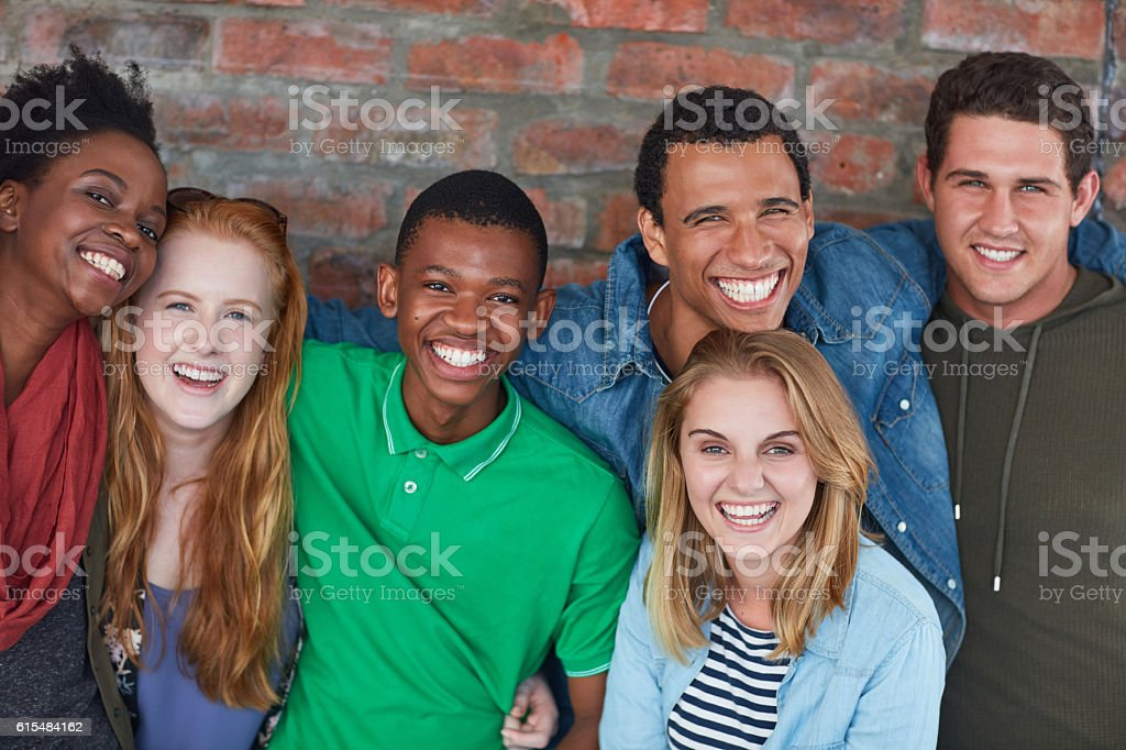 Friends on campus stock photo